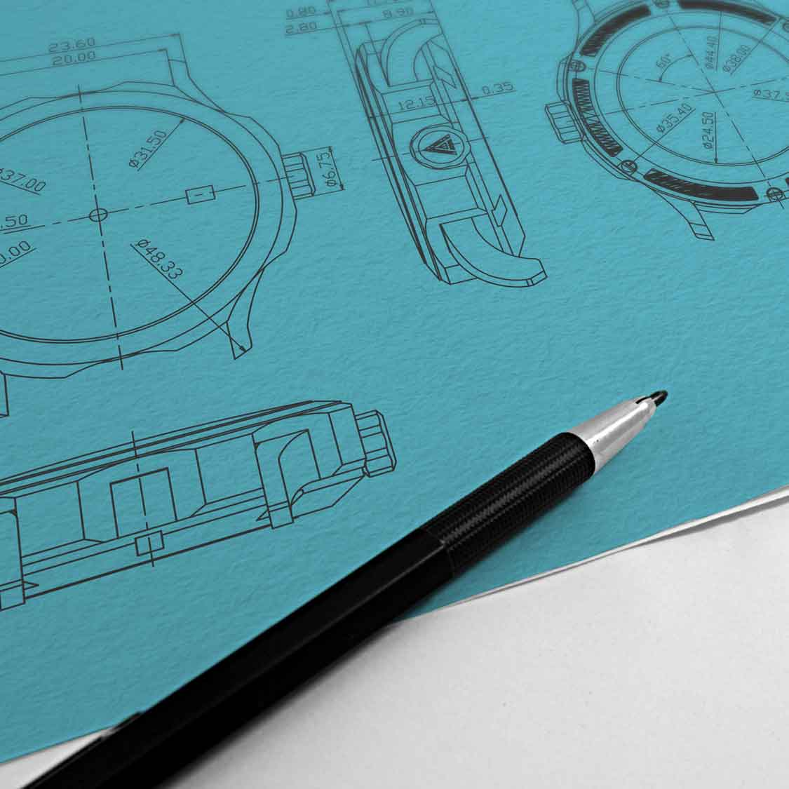 watch designers essex author studios technical drawings blue