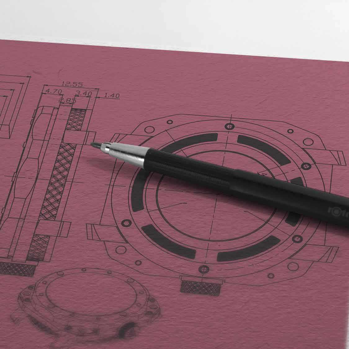 watch designers essex author studios technical drawings red